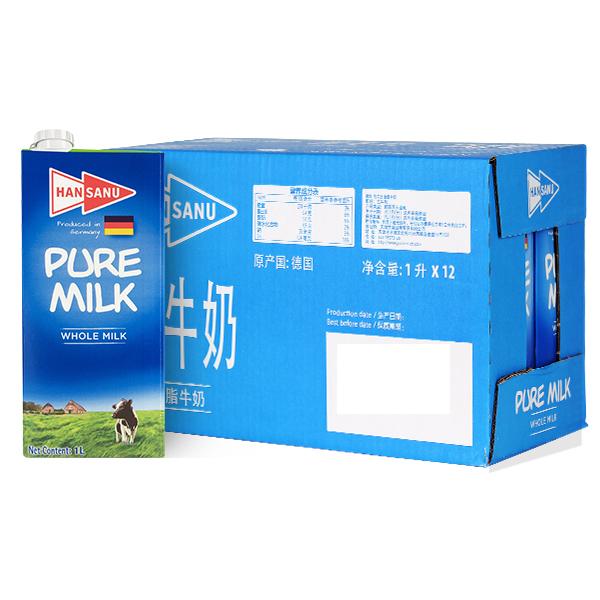 德悠全脂牛奶1L*12
